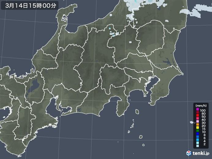 関東・甲信地方の雨雲レーダー(2021年03月14日)