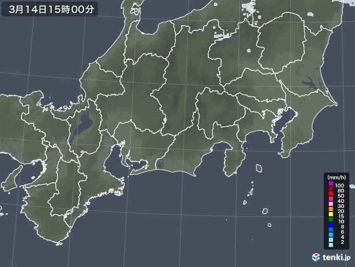 東海地方の雨雲レーダー(2021年03月14日)