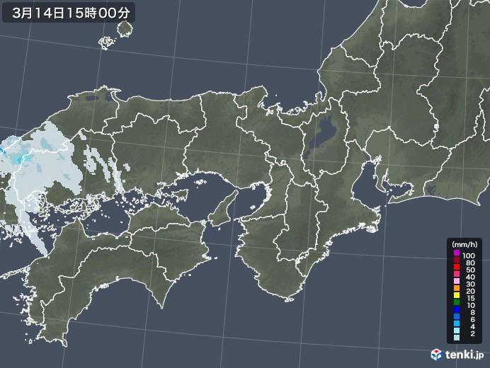 近畿地方の雨雲レーダー(2021年03月14日)