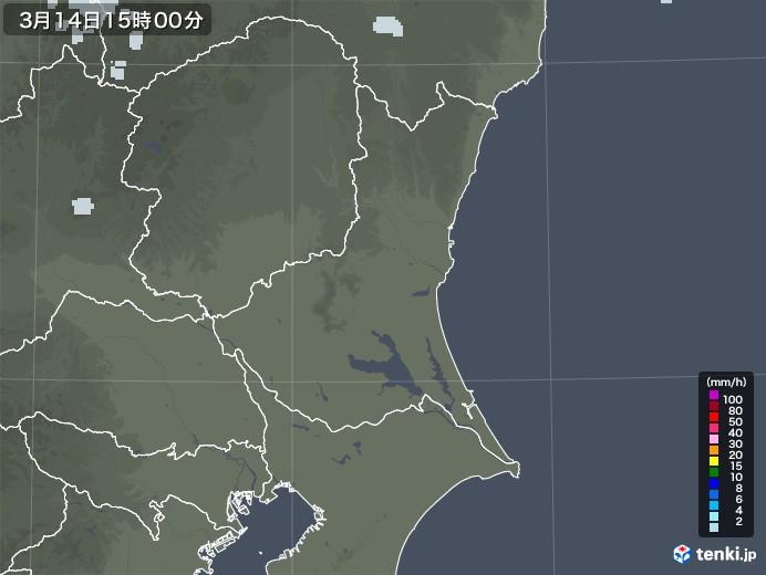 茨城県の雨雲レーダー(2021年03月14日)