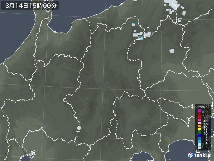 長野県の雨雲レーダー(2021年03月14日)