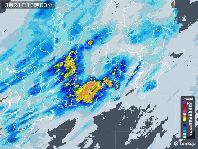 関東・甲信地方の雨雲レーダー(2021年03月21日)