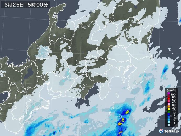関東・甲信地方の雨雲レーダー(2021年03月25日)