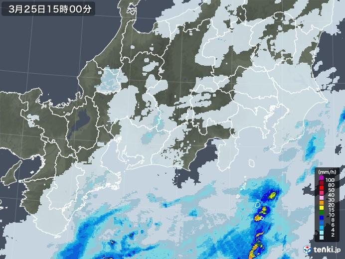 東海地方の雨雲レーダー(2021年03月25日)