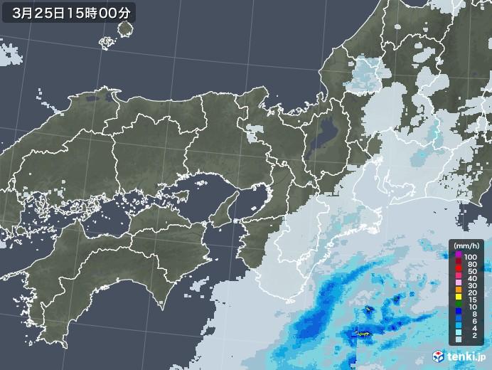 近畿地方の雨雲レーダー(2021年03月25日)