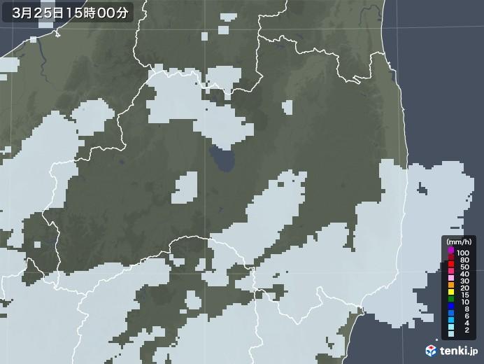 福島県の雨雲レーダー(2021年03月25日)
