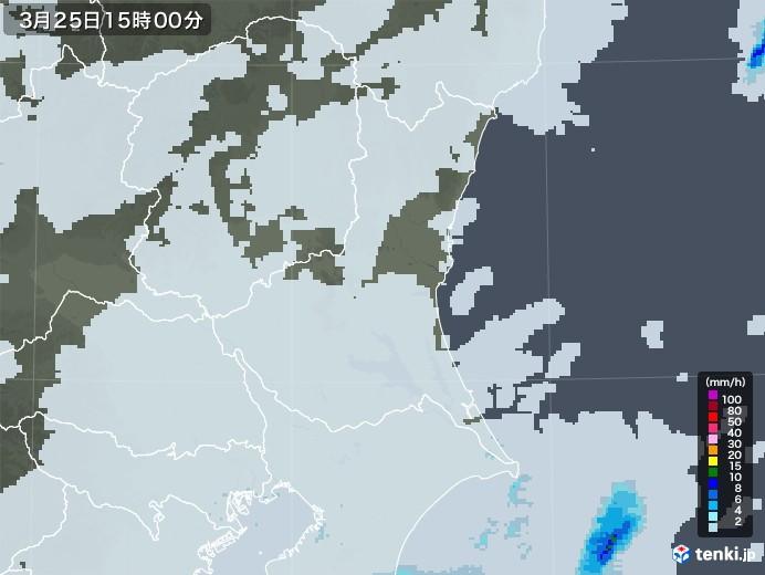 茨城県の雨雲レーダー(2021年03月25日)