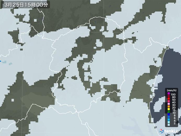 栃木県の雨雲レーダー(2021年03月25日)