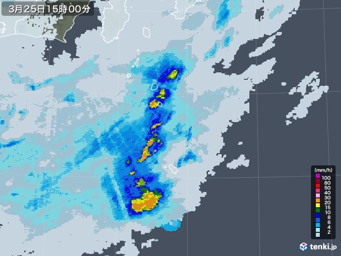 伊豆諸島(東京都)の雨雲レーダー(2021年03月25日)