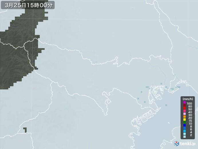 東京都の雨雲レーダー(2021年03月25日)
