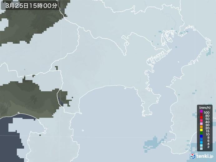神奈川県の雨雲レーダー(2021年03月25日)