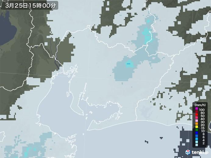 愛知県の雨雲レーダー(2021年03月25日)