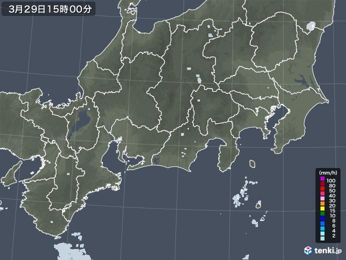 東海地方の雨雲レーダー(2021年03月29日)