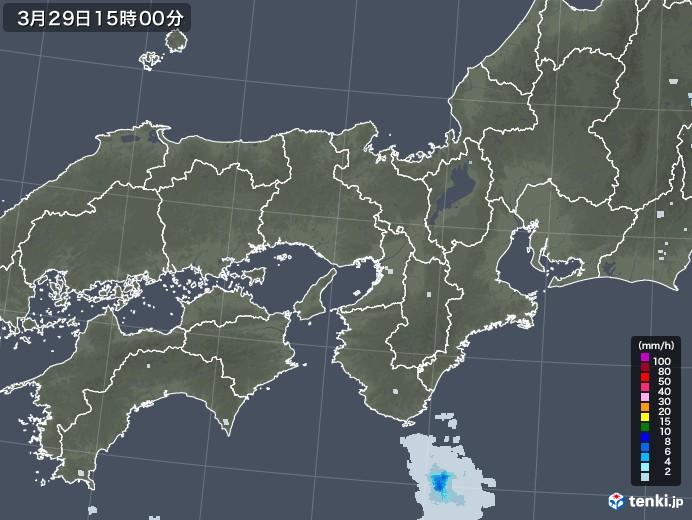 近畿地方の雨雲レーダー(2021年03月29日)
