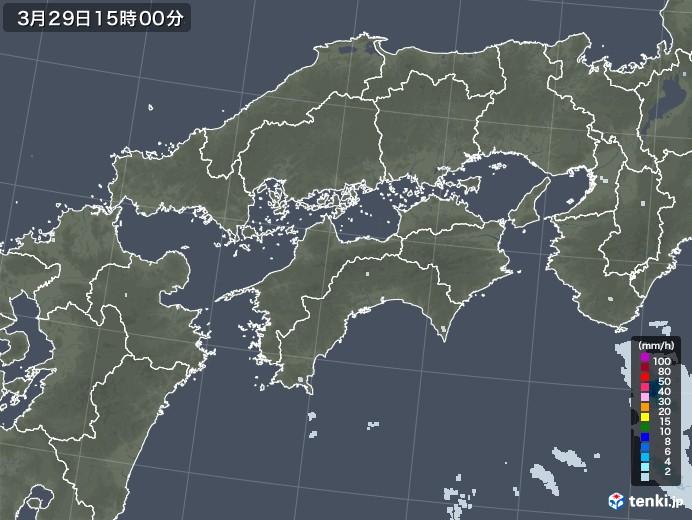 四国地方の雨雲レーダー(2021年03月29日)