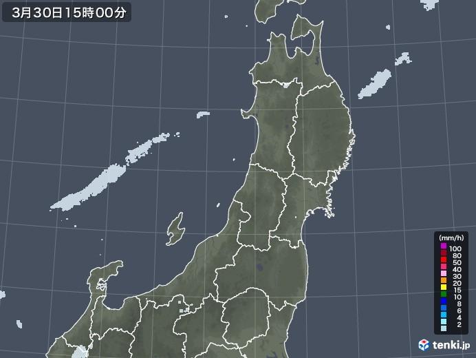 東北地方の雨雲レーダー(2021年03月30日)