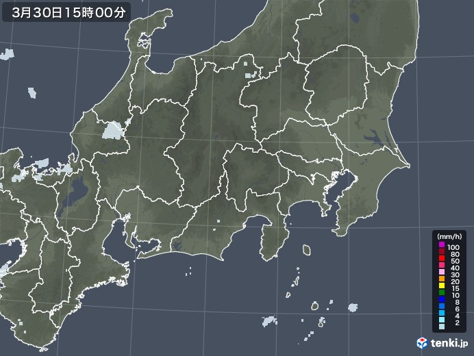 関東・甲信地方の雨雲レーダー(2021年03月30日)