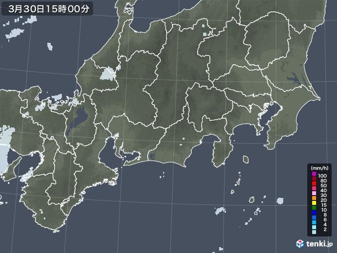 東海地方の雨雲レーダー(2021年03月30日)