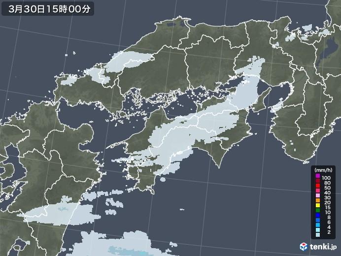 四国地方の雨雲レーダー(2021年03月30日)