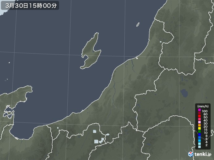 新潟県の雨雲レーダー(2021年03月30日)