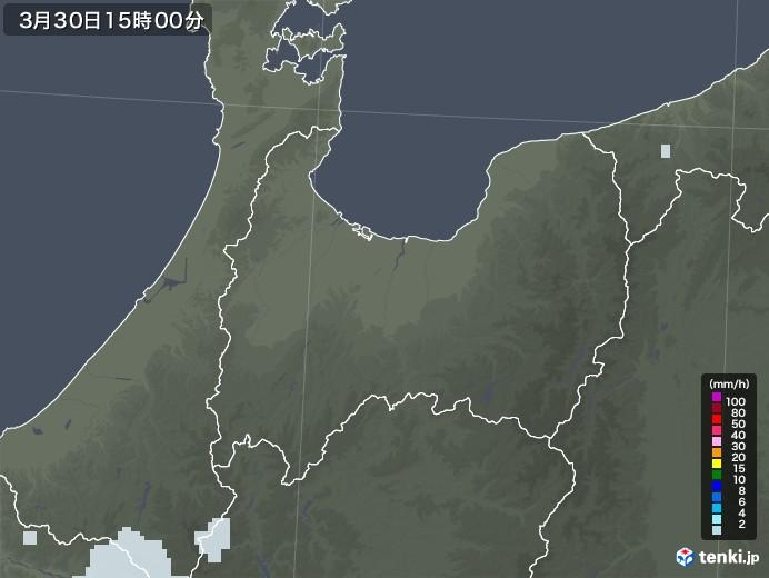 富山県の雨雲レーダー(2021年03月30日)