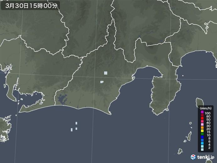 静岡県の雨雲レーダー(2021年03月30日)