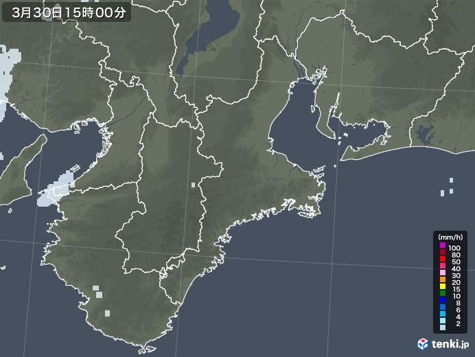三重県の雨雲レーダー(2021年03月30日)