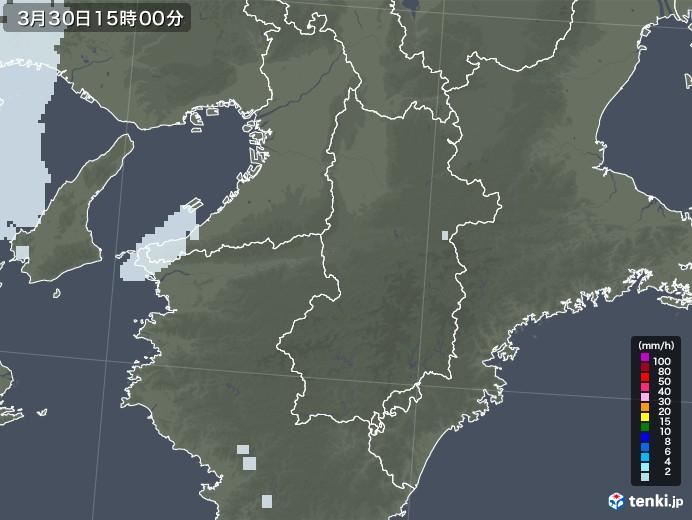 奈良県の雨雲レーダー(2021年03月30日)