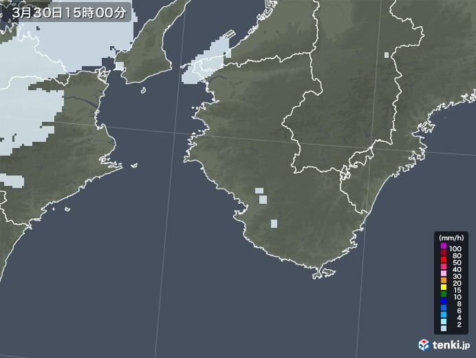 和歌山県の雨雲レーダー(2021年03月30日)