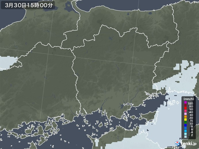 岡山県の雨雲レーダー(2021年03月30日)