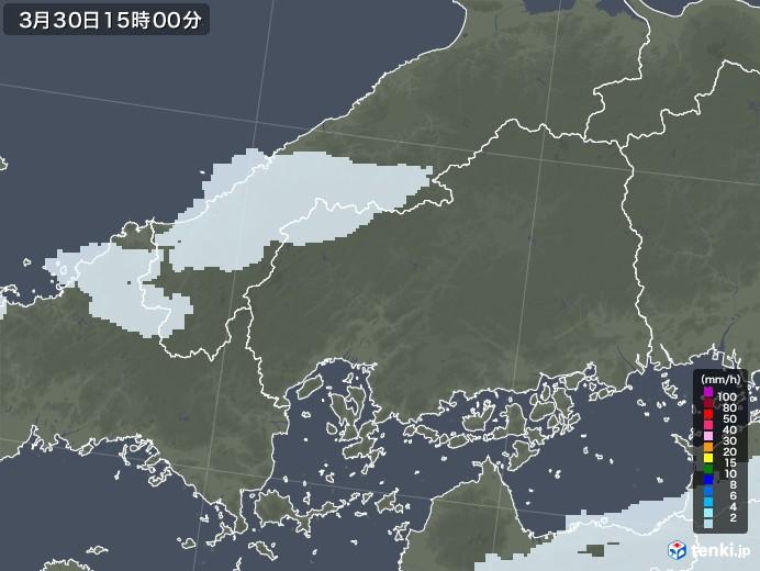 広島県の雨雲レーダー(2021年03月30日)