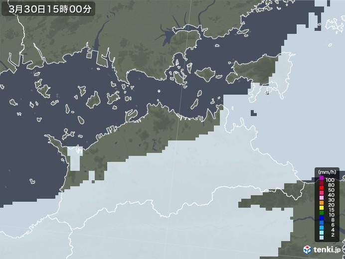 香川県の雨雲レーダー(2021年03月30日)