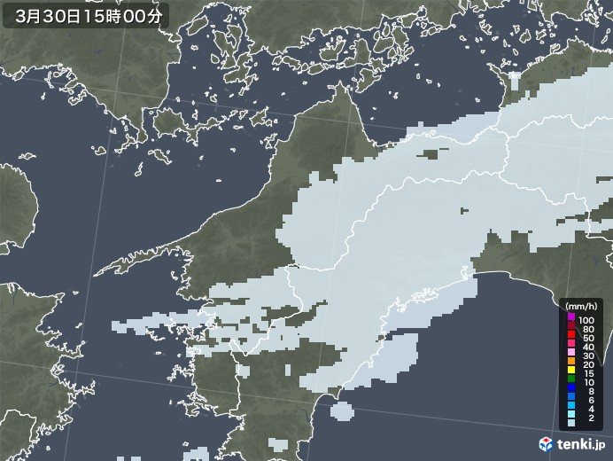 愛媛県の雨雲レーダー(2021年03月30日)