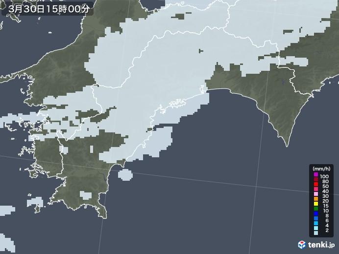 高知県の雨雲レーダー(2021年03月30日)