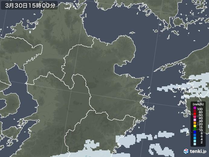 大分県の雨雲レーダー(2021年03月30日)