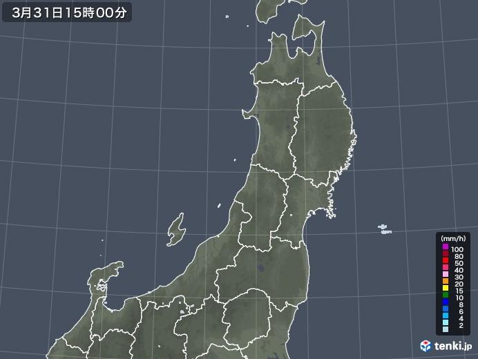 東北地方の雨雲レーダー(2021年03月31日)