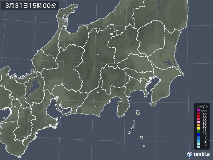 関東・甲信地方の雨雲レーダー(2021年03月31日)