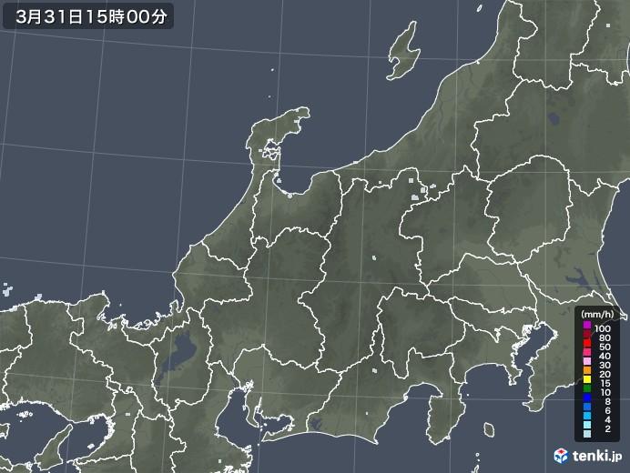 北陸地方の雨雲レーダー(2021年03月31日)