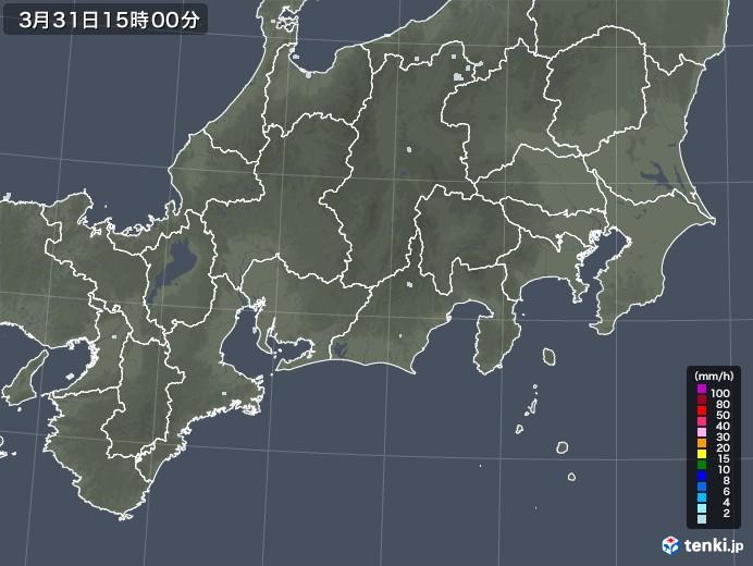 東海地方の雨雲レーダー(2021年03月31日)