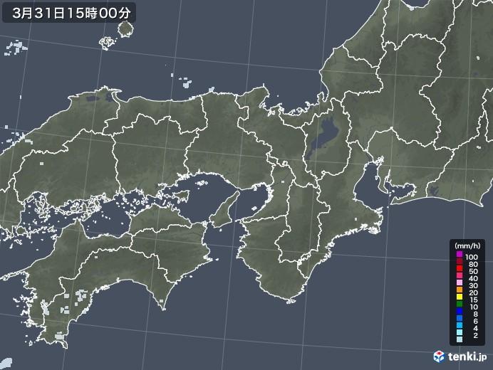近畿地方の雨雲レーダー(2021年03月31日)