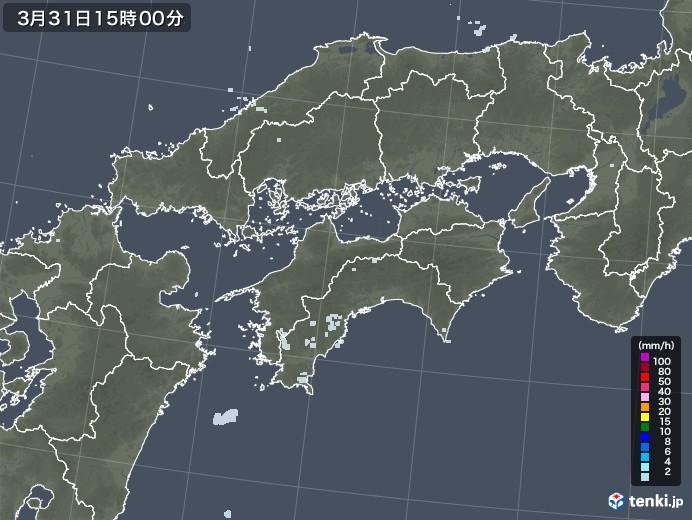 四国地方の雨雲レーダー(2021年03月31日)