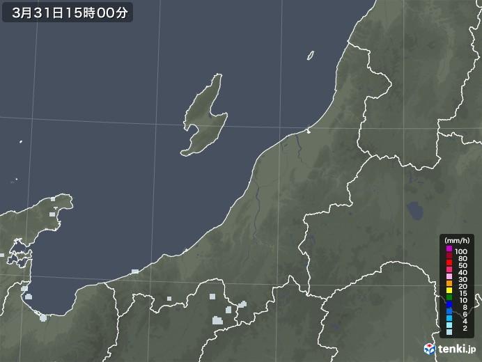 新潟県の雨雲レーダー(2021年03月31日)