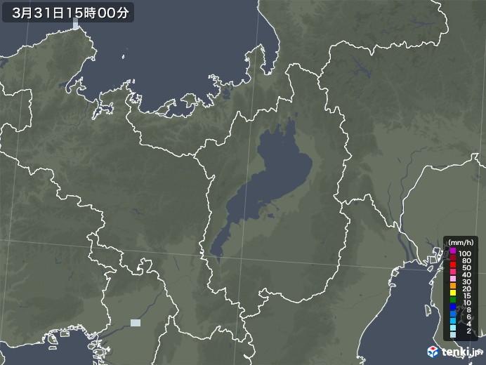 滋賀県の雨雲レーダー(2021年03月31日)
