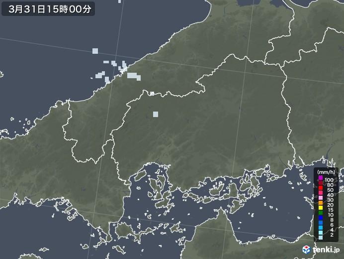 広島県の雨雲レーダー(2021年03月31日)