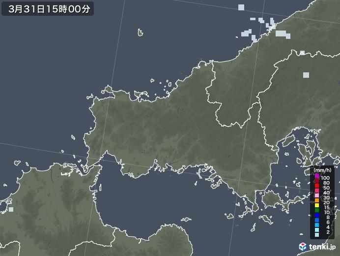 山口県の雨雲レーダー(2021年03月31日)