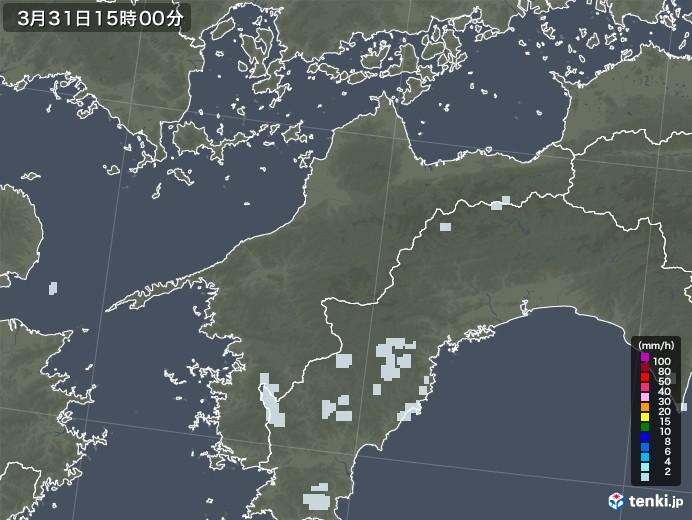 愛媛県の雨雲レーダー(2021年03月31日)