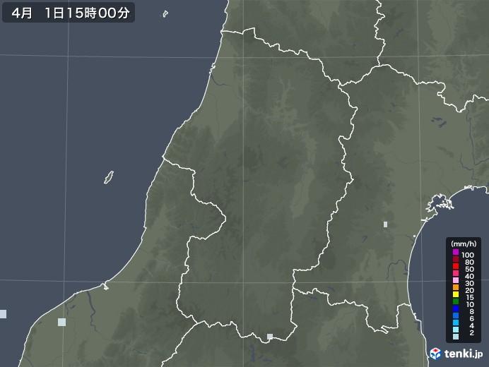 山形県の雨雲レーダー(2021年04月01日)