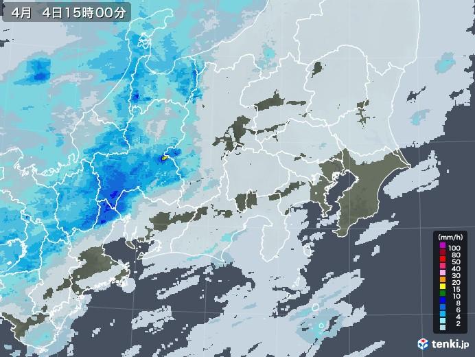 関東・甲信地方の雨雲レーダー(2021年04月04日)