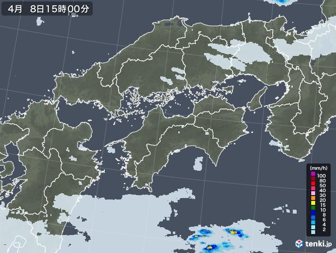 四国地方の雨雲レーダー(2021年04月08日)