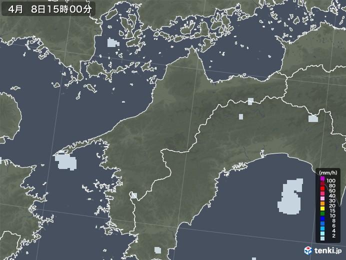 愛媛県の雨雲レーダー(2021年04月08日)